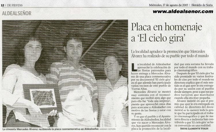 ALDEALSEÑOR - Heraldo de Soria - Placa en homenaje a El Cielo Gira 7f6b6c79674c